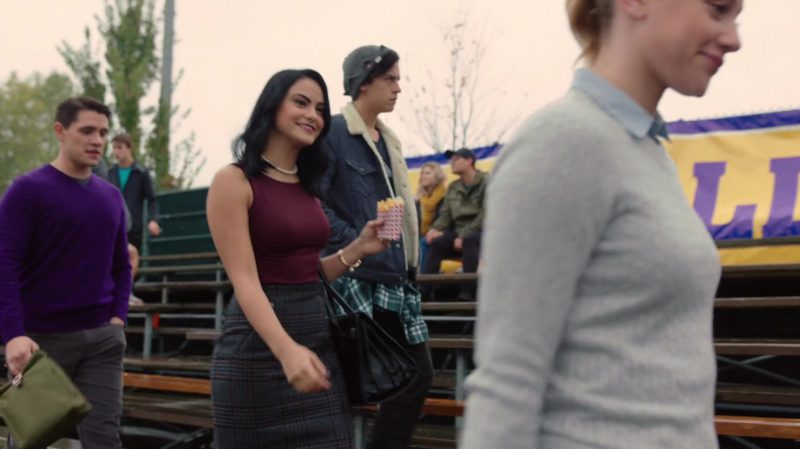 """Purple Top and Plaid Skirt Worn by Camila Mendes in """"Riverdale"""" TV Show"""