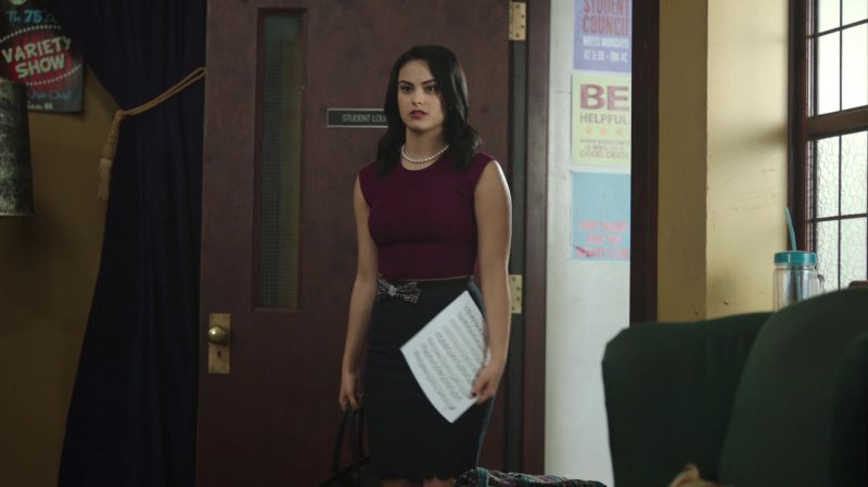 """Purple Top and Scalloped Pencil Skirt Worn by Camila Mendes in """"Riverdale"""" - TV Show Outfits and Products"""