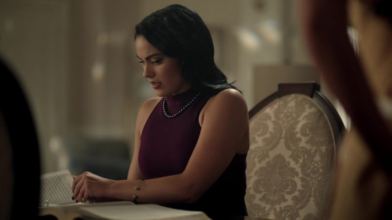 "Purple Turtleneck Sleeveless Sweater Worn by Camila Mendes in ""Riverdale"" TV Show"
