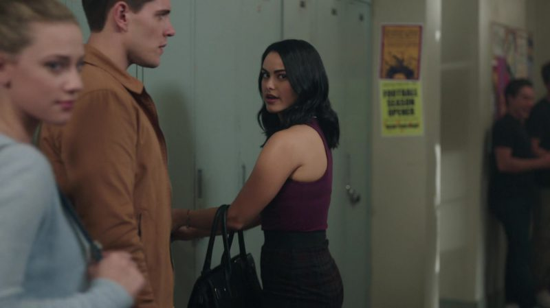 """Female  Celebrity Style:  Purple Turtleneck Sleeveless Sweater and Plaid Skirt Worn by Camila Mendes in """"Riverdale"""" TV Show"""