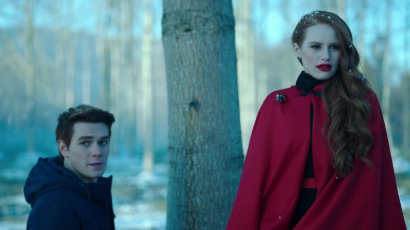 "Red Cape and Spider Brooch Worn by Madelaine Petsch in ""Riverdale"" TV Show"