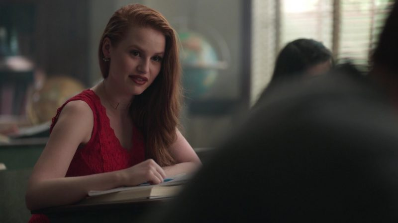 "Red Lace Dress Worn by Madelaine Petsch in ""Riverdale"" TV Show - Female Celebrity Style"