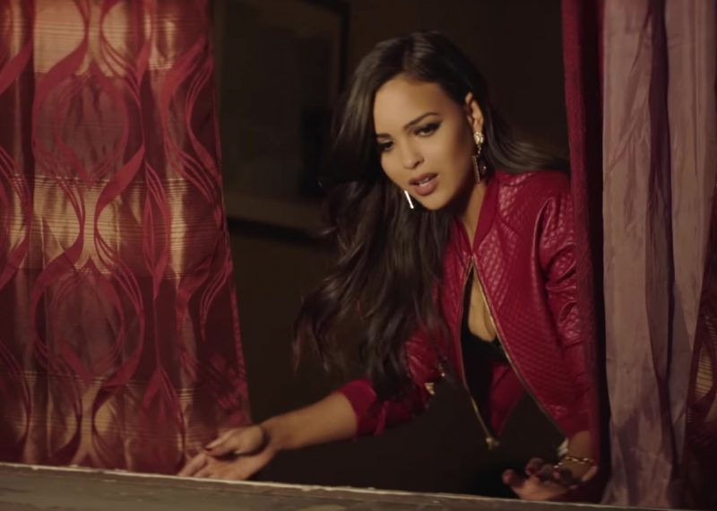 "Red Leather Bomber Jacket Worn by Model in ""El Amante"" by Nicky Jam Official Music Video - Female Fashion Outfits and Products"