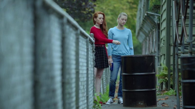 """Red Long Sleeve Top and Plaid Skirt Worn by Madelaine Petsch in """"Riverdale"""" TV Show"""