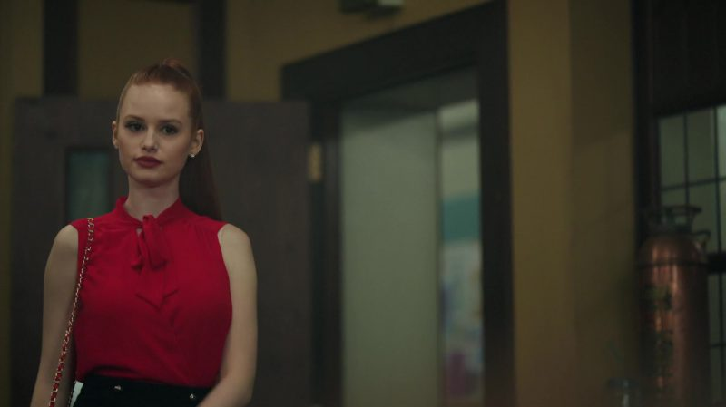 """Red Short Sleeve Blouse Worn by Madelaine Petsch in """"Riverdale"""" TV Show - Female Celebrity Style"""