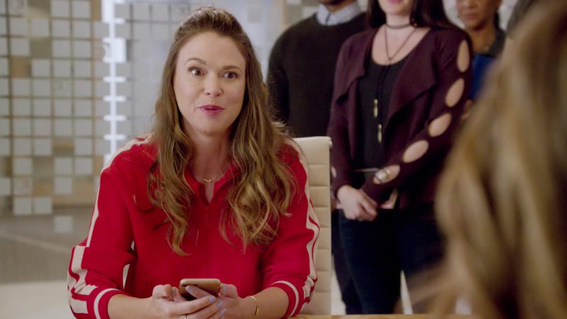 "Red Sporty Jacket Worn by Sutton Foster in ""Younger"" TV Show - Female Celebrity Style"