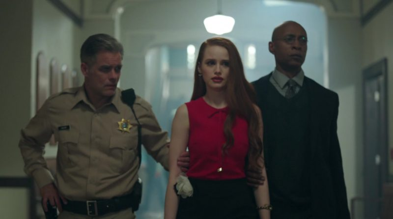 """Red Top and Black Bottom Worn by Madelaine Petsch in """"Riverdale"""" - TV Show Outfits and Products"""