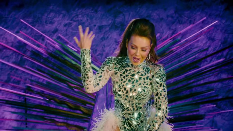 """Sequin Long Sleeve Bodysuit and Glitter Over-the-Knee Boots Worn by Thalía in """"No Me Acuerdo"""" Music Video - Female Fashion"""