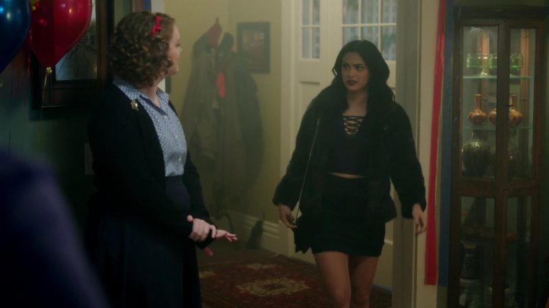"""Fashion Trends 2021: Short Fur Coat, Blue Crop Top and Plaid Skirt Worn by Camila Mendes in """"Riverdale"""""""