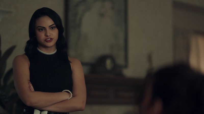 """Sleeveless Sweater With White Collar and Patterned Skirt Worn by Camila Mendes in """"Riverdale"""" TV Show"""