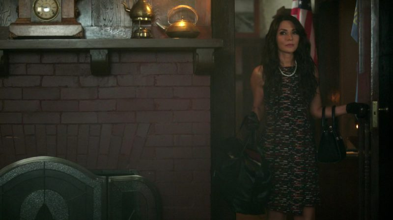 """Sleeveless Tweed Dress with Asymmetric Hem Worn by Marisol Nichols in """"Riverdale"""" TV Show - Female Fashion Outfits and Products"""
