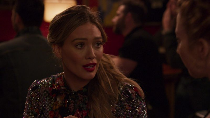 """Sparkly Floral Blouse Worn by Hilary Duff in """"Younger"""" - TV Show Outfits and Products"""
