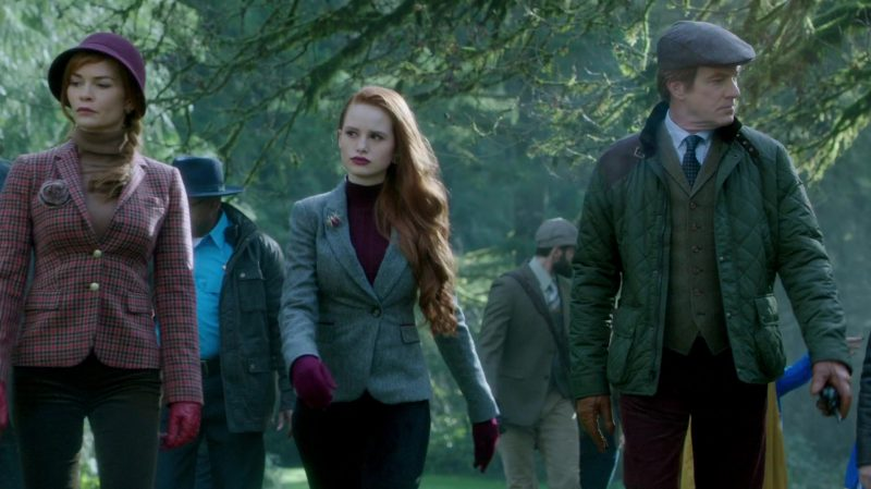"Turtleneck and Grey Blazer Worn by Madelaine Petsch in ""Riverdale"" - TV Show Outfits and Products"
