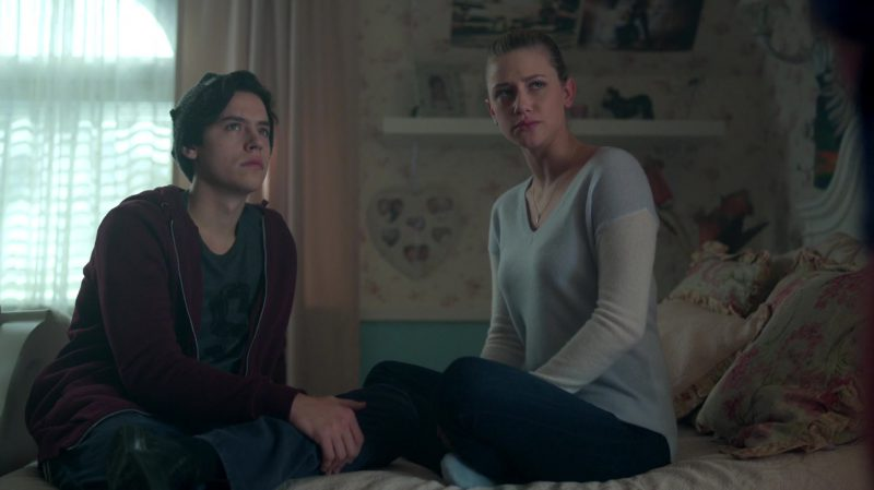 """Female  Celebrity Style:  Two Color Sweater Worn by Lili Reinhart in """"Riverdale"""" TV Show"""