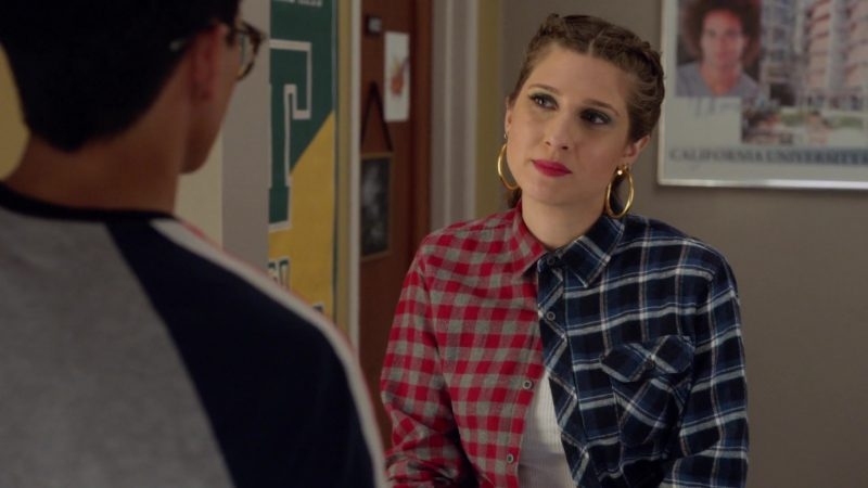 "Two Colors Stitching Tartan Shirt Worn by Emily Arlook in ""Grown-ish"" TV Show"