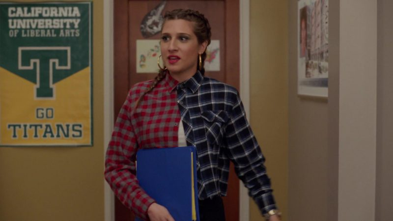 "Two Colors Stitching Tartan Shirt Worn by Emily Arlook in ""Grown-ish"" TV Show - Female Fashion"