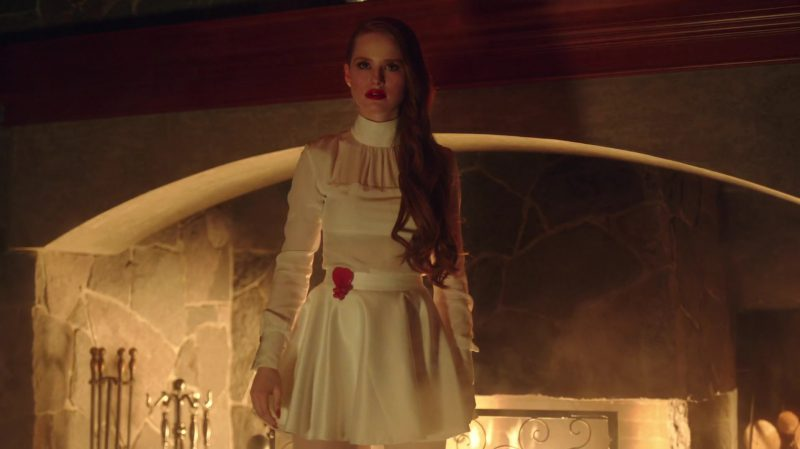 "White Belted Dresses Worn by Madelaine Petsch in ""Riverdale"" TV Show - Female Fashion Outfits and Products"