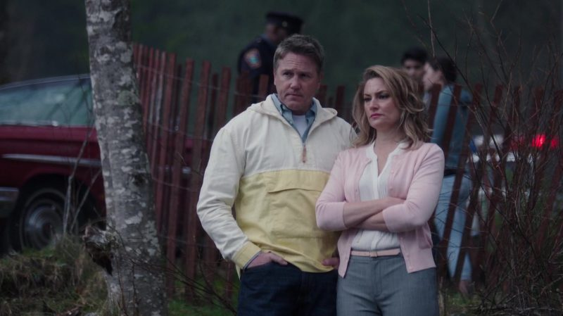 "White Blouse and Pink Cardigan Worn by Mädchen Amick in ""Riverdale"" TV Show - Female Fashion Outfits and Products"