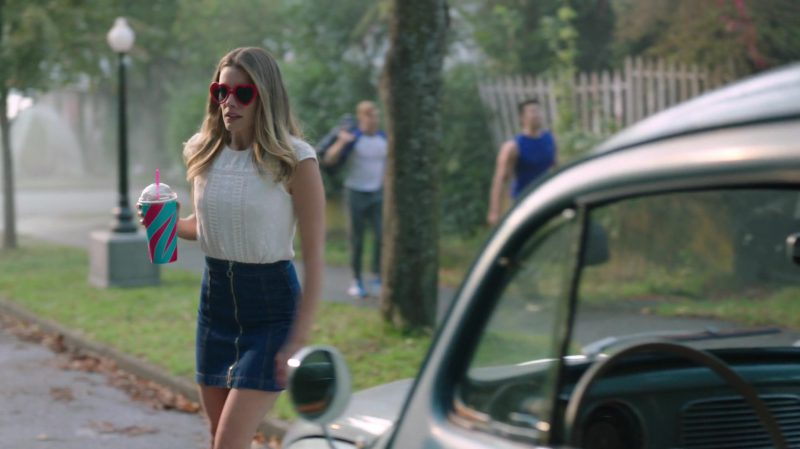 """White Blouse and Zip Front Denim Skirt Worn by Sarah Habel in """"Riverdale"""" TV Show"""