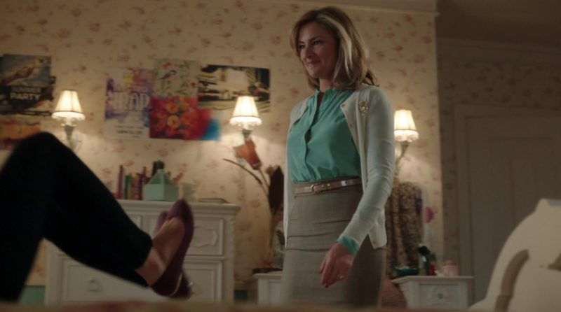 "White Cardigan, Green Shirt and Plaid Pencil Skirt Worn by Mädchen Amick in ""Riverdale"" TV Show"