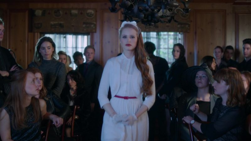 "White Dress and Cardigan Worn by Madelaine Petsch in ""Riverdale"" TV Show"