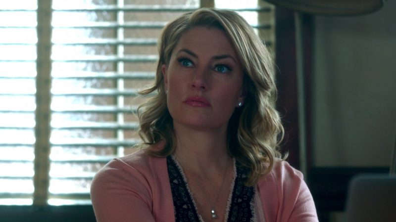 "White Dress and Pastel Pink Cardigan Worn by Mädchen Amick in ""Riverdale"" TV Show"