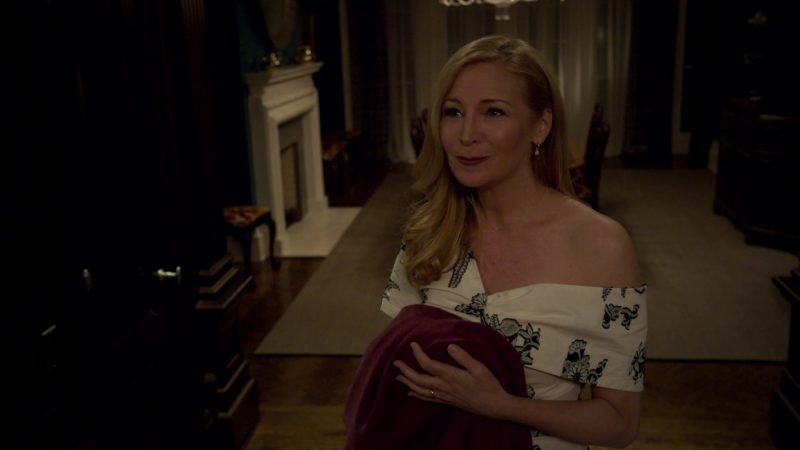 "White Floral Print Dress Worn by Jennifer Westfeldt in ""Younger"" - TV Show Outfits and Products"