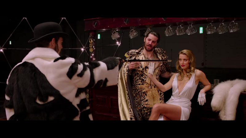 "White High Slit Strappy Low Cut Maxi Dress Worn by Amber Heard in ""London Fields"" Movie"