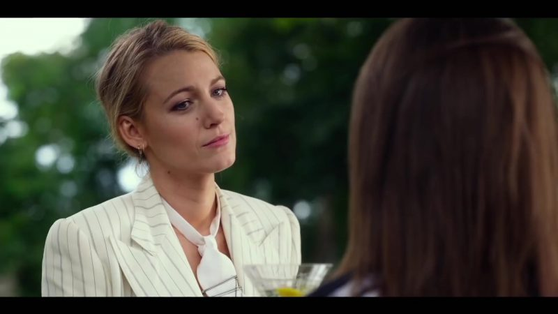 "White Striped Jacket Worn by Blake Lively in ""A Simple Favor"" Movie"