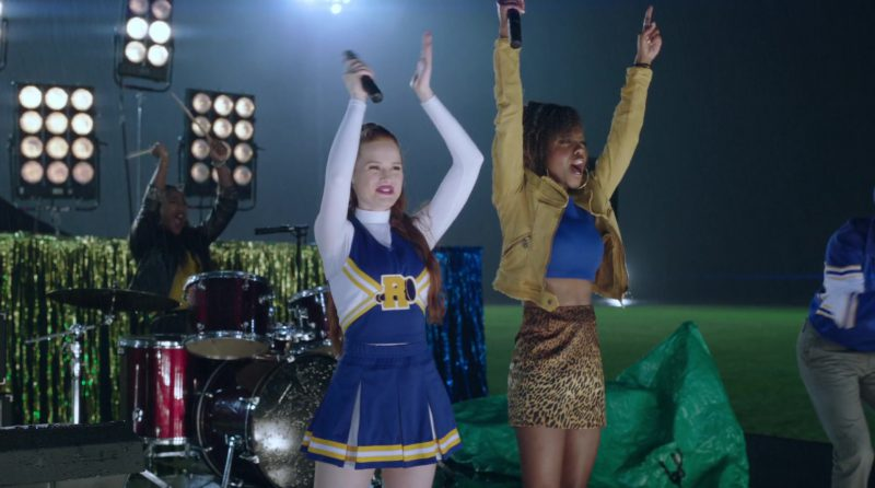 "White Turtleneck and Cheerleading Dress Worn by Madelaine Petsch in ""Riverdale"" TV Show"