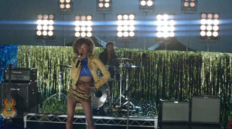 """Yellow Jacket, Blue Crop Top and Leopard Skirt Worn by Ashleigh Murray in """"Riverdale"""" - TV Show Outfits and Products"""