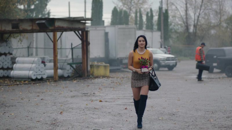 "Yellow Top and Patterned Mini Skirt Worn by Camila Mendes in ""Riverdale"" TV Show - Female Fashion"