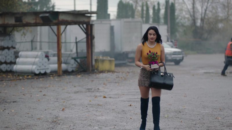 """Yellow Top and Patterned Mini Skirt Worn by Camila Mendes in """"Riverdale"""" - TV Show Outfits and Products"""