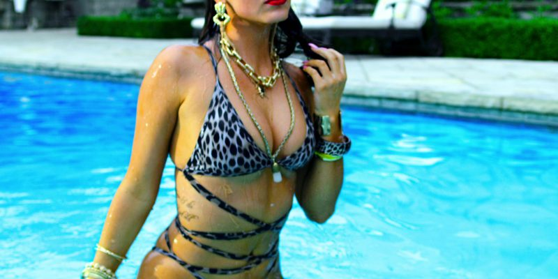 Leopard One Piece Swimsuit Worn by Ruby O. Fee in Polar Movie