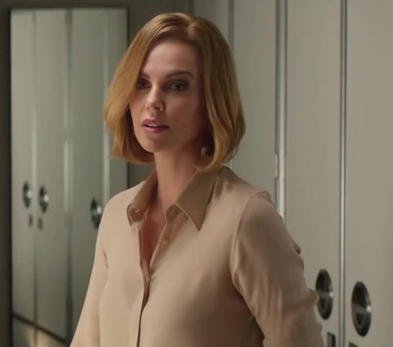 Beige Blouse Worn by Charlize Theron in Long Shot Movie