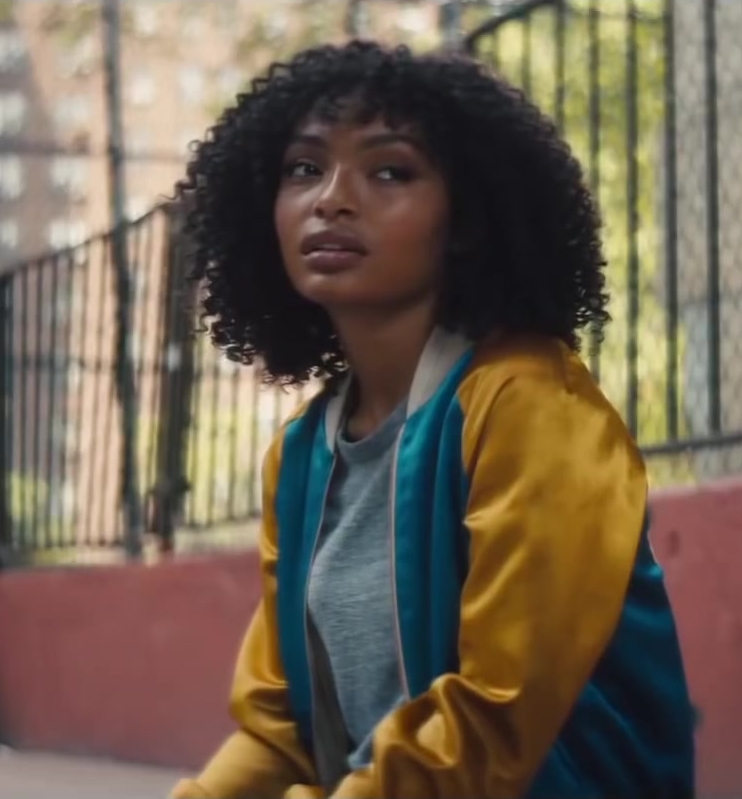 Bomber Jacket (Yellow & Blue) Worn by Yara Shahidi in The Sun Is Also a Star Movie - Female Fashion Outfits and Products