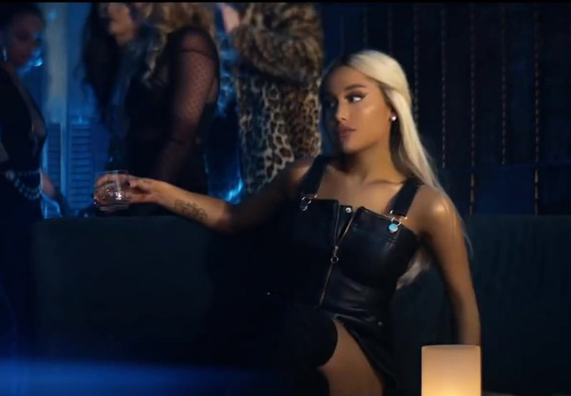 "Female  Celebrity Style:  Leather Dress Worn by Ariana Grande in ""Break Up With Your Girlfriend, I'm Bored"" Music Video"