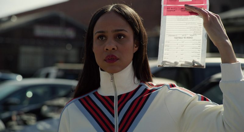 Sporty Jacket in White Worn by Zawe Ashton in Velvet Buzzsaw Movie - Female Fashion Outfits and Products