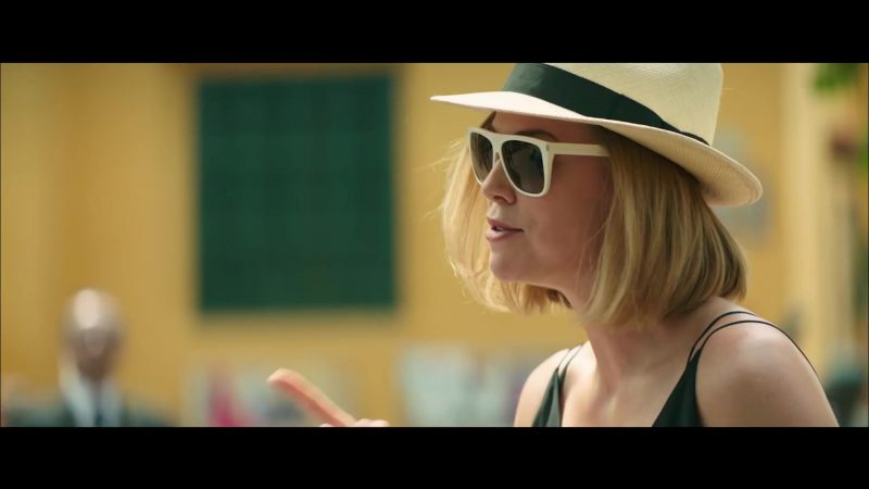 Sunglasses With White Frame Worn by Charlize Theron in Long Shot Movie - Female Fashion Outfits and Products