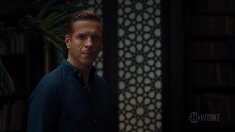 Blue Shirt Worn by Damian Lewis (Bobby Axelrod) in Billions Season 4 - TV Show Outfits and Products