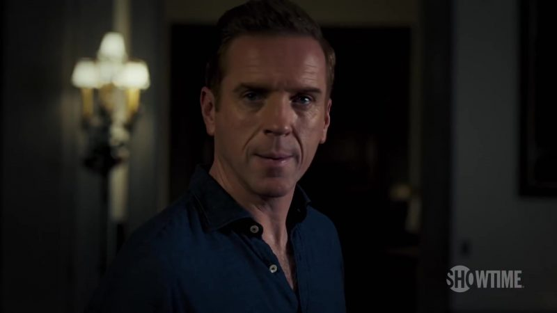 Blue Shirt Worn by Damian Lewis (Bobby Axelrod) in Billions Season 4 TV Show - Male Celebrity Style