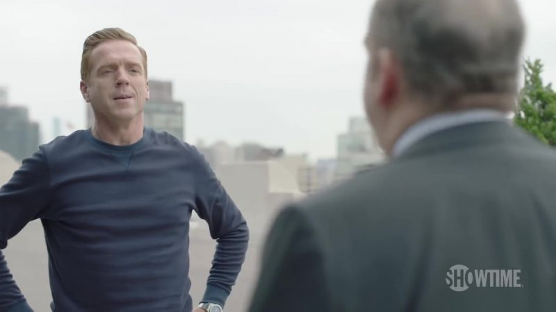 Blue Sweatshirt Worn by Damian Lewis (Bobby Axelrod) in Billions Season 4 - TV Show Outfits and Products