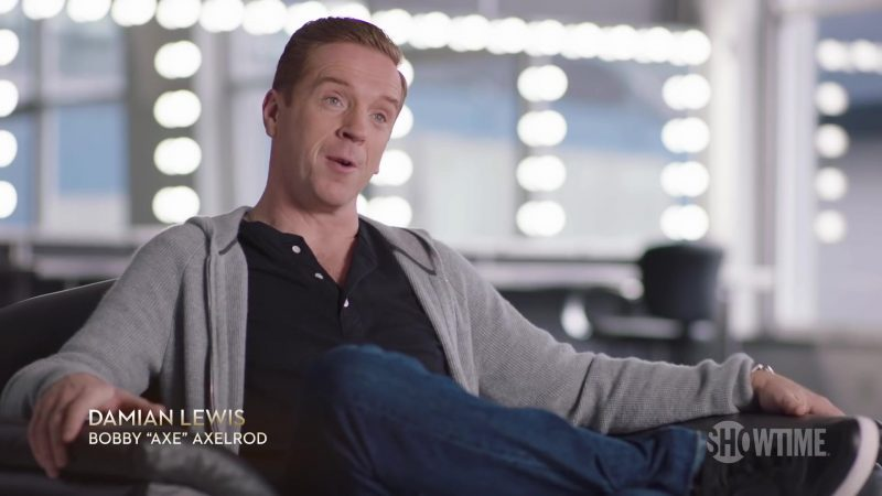 Grey Cardigan Hoodie Worn by Damian Lewis (Bobby Axelrod) in Billions Season 4 - TV Show Outfits and Products