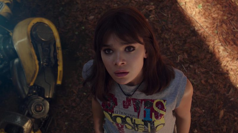 Vintage Elvis Costello Clocking in Across America Summers Tour T-Shirt Worn by Hailee Steinfeld in Bumblebee - Movie Outfits and Products