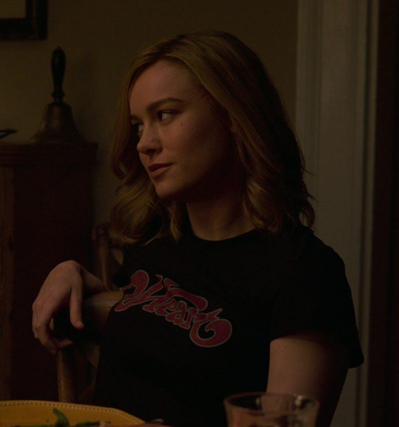 Black T-Shirt with Heart Logo Worn by Brie Larson in Captain Marvel - Movie Outfits and Products