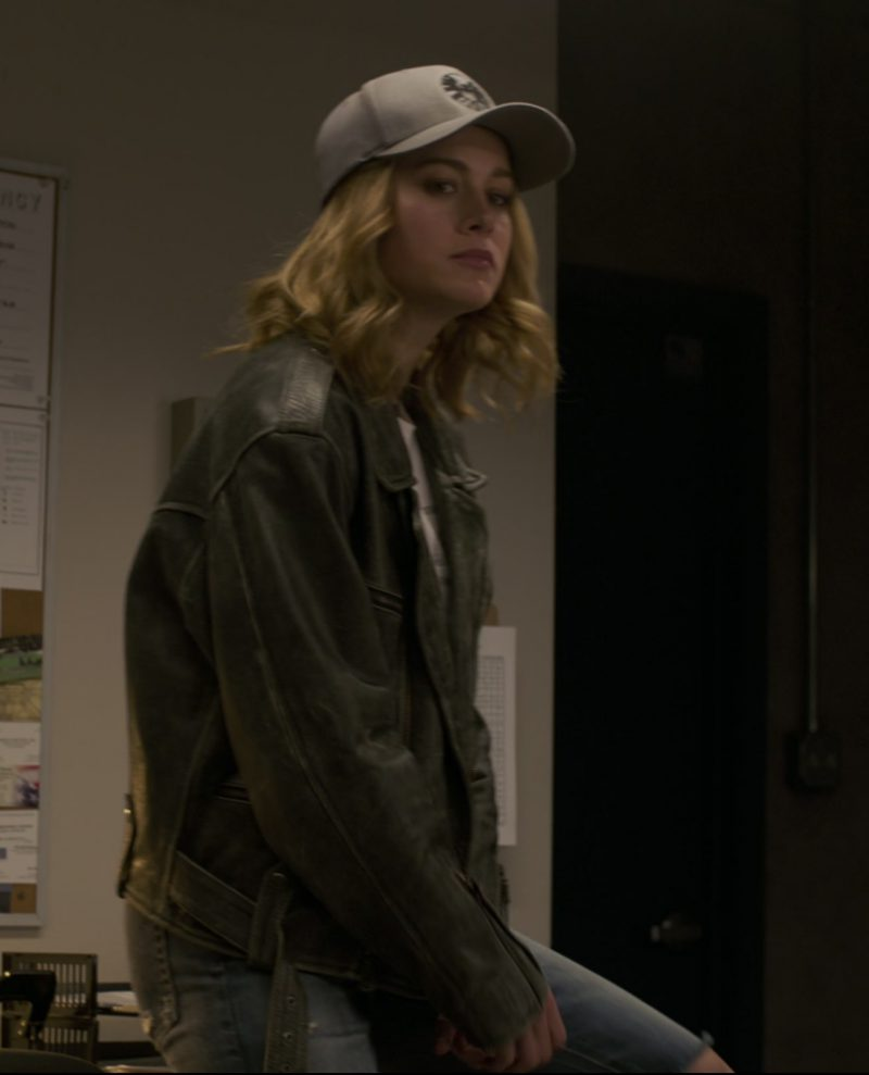 Leather Biker Jacket Worn by Brie Larson in Captain Marvel Movie - Female Fashion Outfits and Products