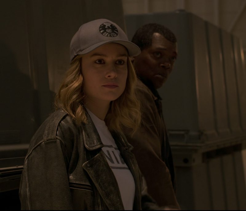 Leather Biker Jacket Worn by Brie Larson in Captain Marvel - Movie Outfits and Products