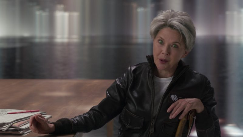 Leather Jacket Worn by Annette Bening in Captain Marvel - Movie Outfits and Products