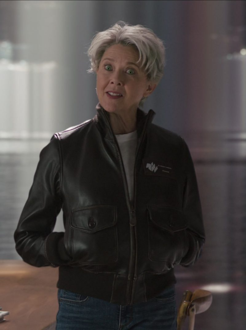 Leather Jacket Worn by Annette Bening in Captain Marvel Movie - Female Fashion Outfits and Products