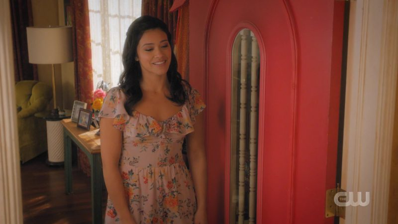 Summer Dress With Floral Prints Worn by Gina Rodriguez in Jane The Virgin TV Show - Female Fashion Outfits and Products
